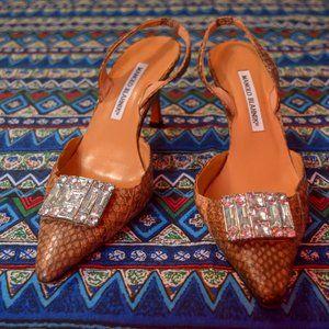 Retro Manolo Blahnik slip-on snakeskin stilettos!